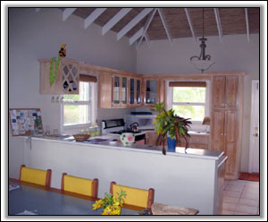 The Dining and Kitchen Area At Bathsheba - Nevis Island Rental Villas