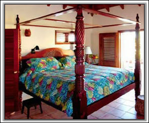 Master Bedroom With Hand Crafted Nevis Bed - Nevis Villa Rental