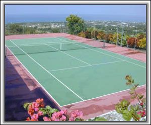 Nevis Is The Backdrop For The Tennis Courts - Nevis Vacation Homes