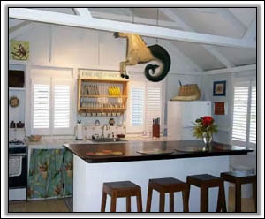 The Kitchen Has A Tropical Flair - Rental Villas
